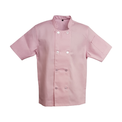 chef jacket double breasted pink