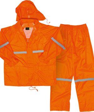 Hi-Vis Polyester PVC Rain Suit COMBO_ORANGE