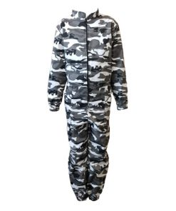 Kids Camouflage Overalls White