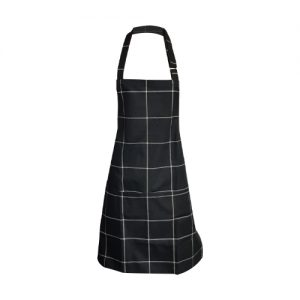 kitchen apron black check